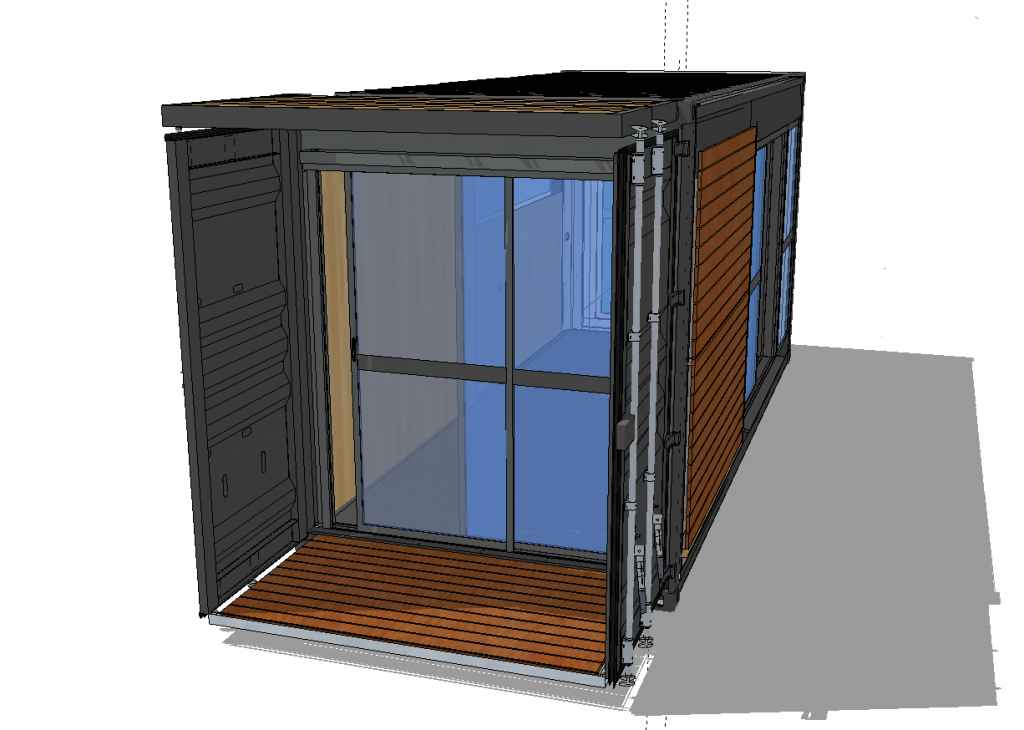 Shipping container remodel records rockets rosemary - Shipping container end welding ...